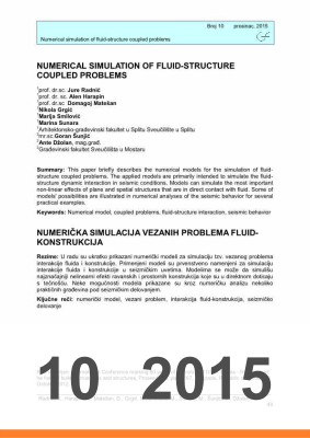 Cover of NUMERICAL SIMULATION OF FLUID-STRUCTURE COUPLED PROBLEMS