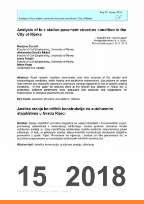 Cover of ANALYSIS OF BUS STATION PAVEMENT STRUCTURE CONDITION IN THE CITY OF RIJEKA