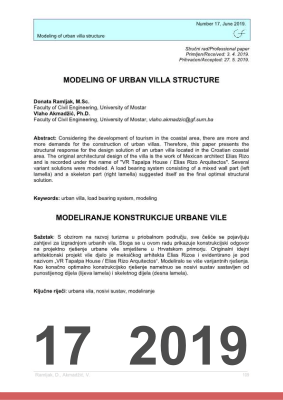 Cover of MODELING OF URBAN VILLA STRUCTURE