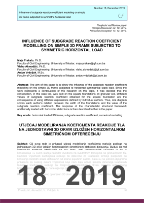 Korica od INFLUENCE OF SUBGRADE REACTION COEFFICIENT MODELLING ON SIMPLE 3D FRAME SUBJECTED TO SYMMETRIC HORIZONTAL LOAD