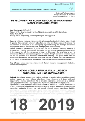 Cover of DEVELOPMENT OF HUMAN RESOURCES MANAGEMENT MODEL IN CONSTRUCTION