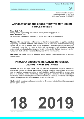 Cover of APPLICATION OF THE CROSS ITERATIVE METHOD ON SIMPLE SYSTEMS