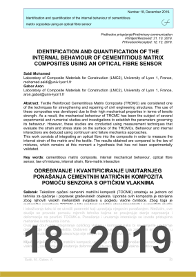 Cover of IDENTIFICATION AND QUANTIFICATION OF THE INTERNAL BEHAVIOUR OF CEMENTITIOUS MATRIX COMPOSITES USING AN OPTICAL FIBRE SENSOR