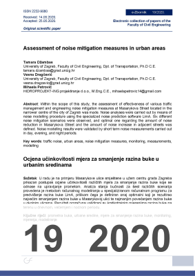 Cover of ASSESSMENT OF NOISE MITIGATION MEASURES IN URBAN AREAS