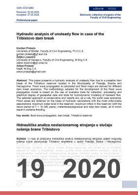 Cover of HYDRAULIC ANALYSIS OF UNSTEADY FLOW IN CASE OF THE TRIBISTOVO DAM BREAK