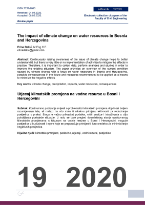 Cover of THE IMPACT OF CLIMATE CHANGE ON WATER RESOURCES IN BOSNIA AND HERZEGOVINA