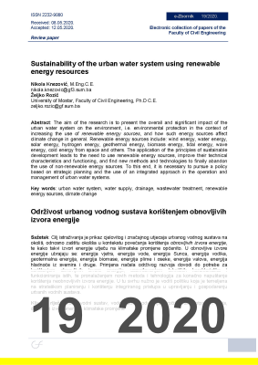 Cover of SUSTAINABILITY OF THE URBAN WATER SYSTEM USING RENEWABLE ENERGY RESOURCES