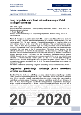 LONG RANGE LAKE WATER LEVEL ESTIMATION USING ARTIFICIAL INTELLIGENCE METHODS